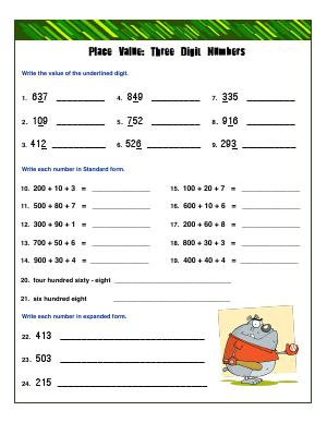 Preview image for worksheet with title Place Value : Three Digit Numbers