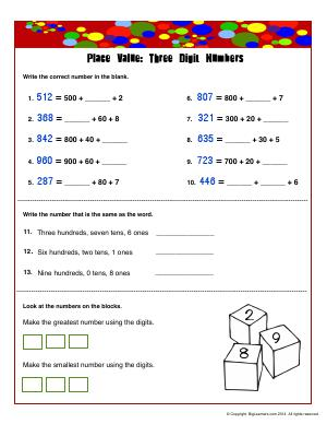 Preview image for worksheet with title Place Vlue : Three Digit Numbers-2