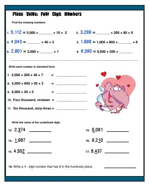 Preview image for worksheet with title Place Value : Four Digit Numbers