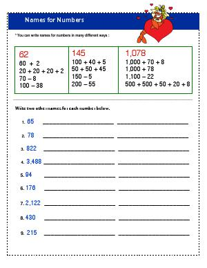 Preview image for worksheet with title Names For Numbers