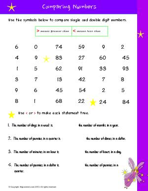 Preview image for worksheet with title Comparing Numbers # 1