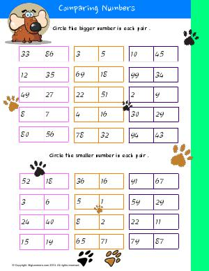 Preview image for worksheet with title Comparing Numbers # 2