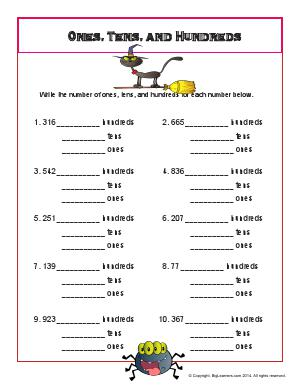 Preview image for worksheet with title Ones, Tens, Hundreds