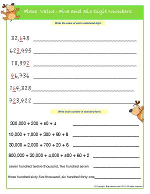 Preview image for worksheet with title Place Value : Five and Six Digit Numbers