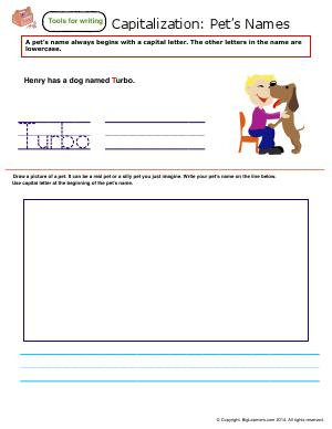 Preview image for worksheet with title Capitalization : Pet's Names