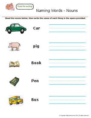 Preview image for worksheet with title Naming Words - Nouns