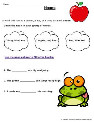 Preview image for worksheet with title Nouns