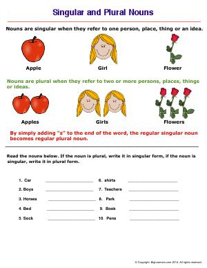 Preview image for worksheet with title Singular and Plural Nouns