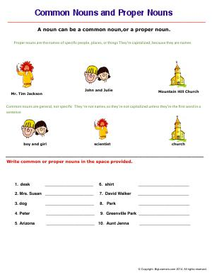 Preview image for worksheet with title Common and Proper Nouns