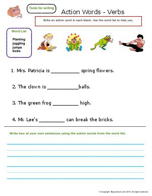 Preview image for worksheet with title Action Words - Verbs