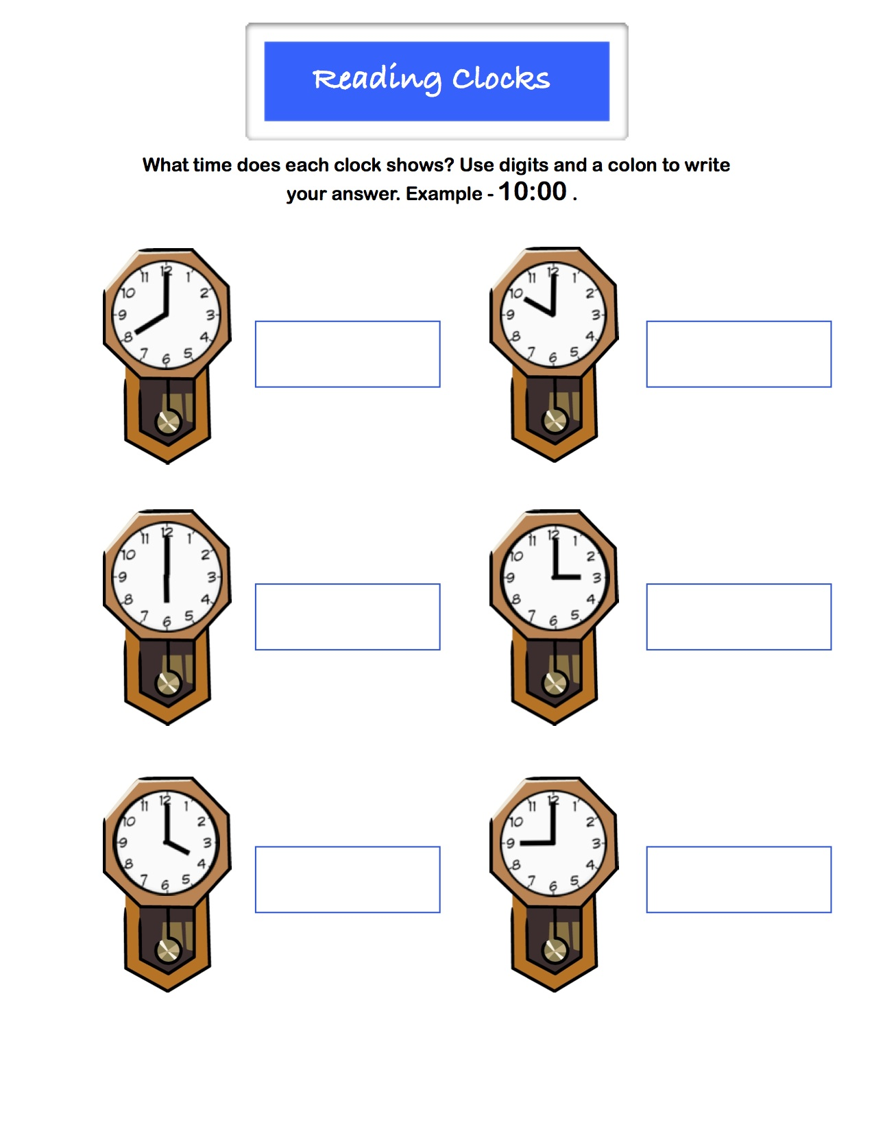 Preview image for worksheet with title Reading Clocks