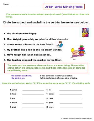 Preview image for worksheet with title Action Verbs and Linking Verbs