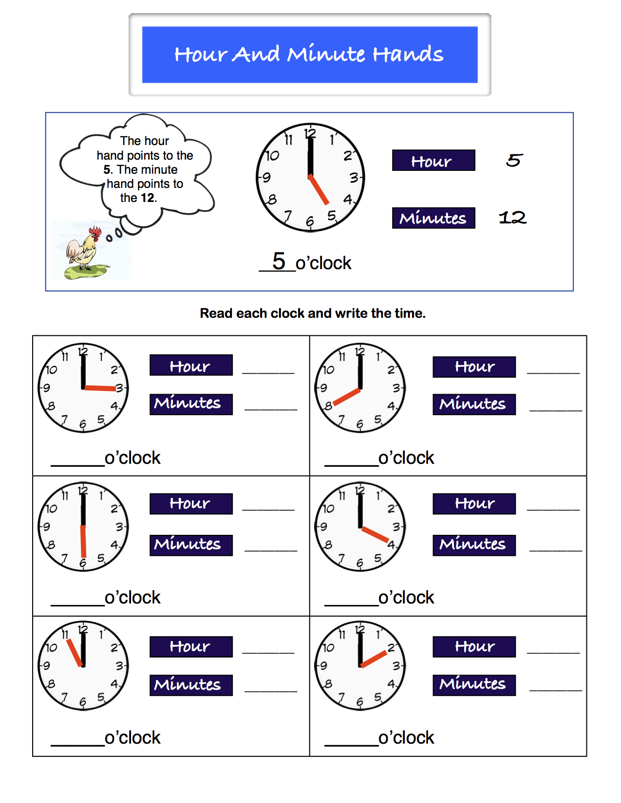 Preview image for worksheet with title Hour and minute hands