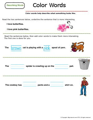 Preview image for worksheet with title Describing Words : Color Words