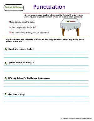 Preview image for worksheet with title Punctuation
