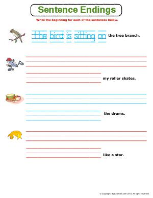 Preview image for worksheet with title Sentence Endings