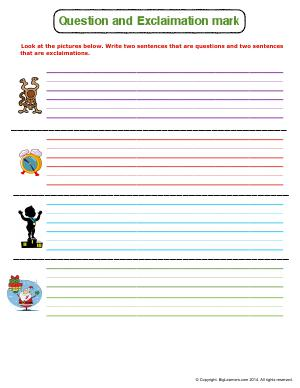 Preview image for worksheet with title Question and Exclamation Mark
