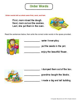 Preview image for worksheet with title Order Words