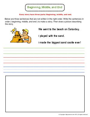 Preview image for worksheet with title Beginning, Middle, and End