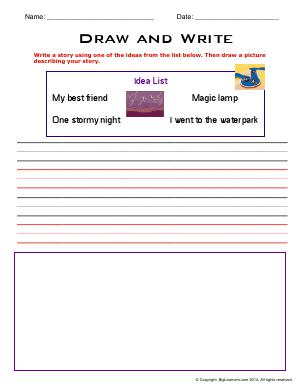 Preview image for worksheet with title Draw and Write