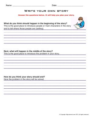 Preview image for worksheet with title Write Your Own Story