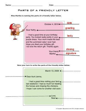 Preview image for worksheet with title Parts of a Friendly Letter