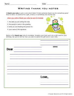 Preview image for worksheet with title Writing Thank You Notes