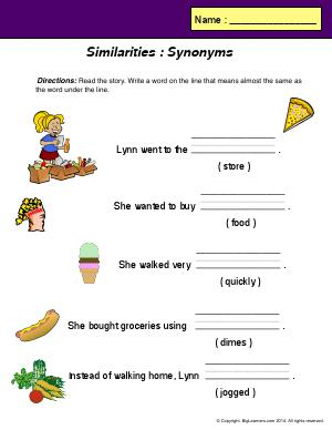 Preview image for worksheet with title Similarities : Synonyms
