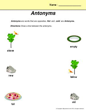 Preview image for worksheet with title Antonyms