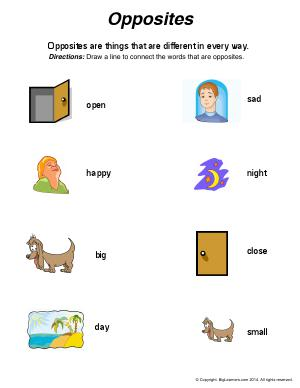 Preview image for worksheet with title Opposites (Antonyms)