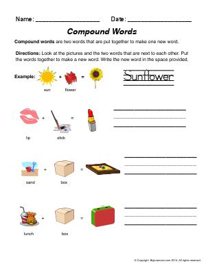 Preview image for worksheet with title Compound Words