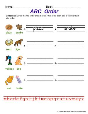 Preview image for worksheet with title ABC Order