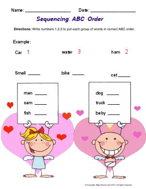 Preview image for worksheet with title Sequencing : ABC Order