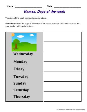 Preview image for worksheet with title Names : Days of the Week