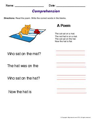 Preview image for worksheet with title Comprehension