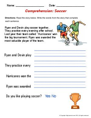 Preview image for worksheet with title Comprehension : Soccer