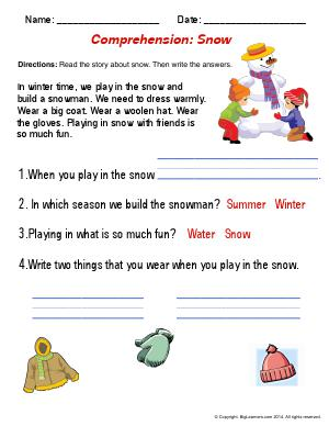 Preview image for worksheet with title Comprehension : Snowman