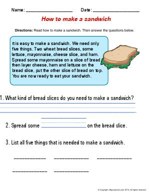 Preview image for worksheet with title How to Make a Sandwich