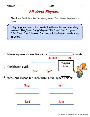 Preview image for worksheet with title All About Rhymes