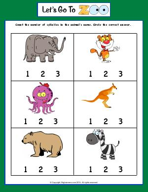 Preview image for worksheet with title Let's Go To Zoo