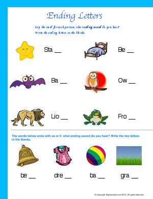 Preview image for worksheet with title Ending Letters