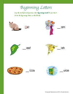 Preview image for worksheet with title Beginning Letters