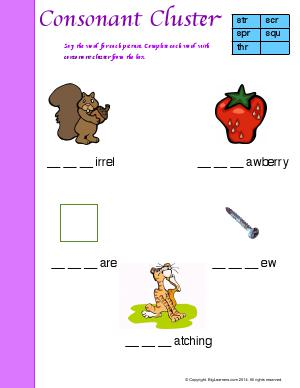 Preview image for worksheet with title Consonant Cluster (3-Letter Blends)