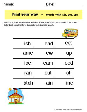 Preview image for worksheet with title Find Your Way - Words With str, scr, and spr