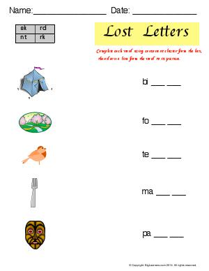 Preview image for worksheet with title Lost Letters (Ending Blends)