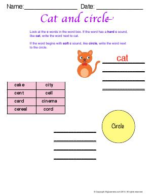 Preview image for worksheet with title Cat and Circle