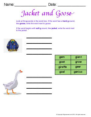 Preview image for worksheet with title Jacket and Goose