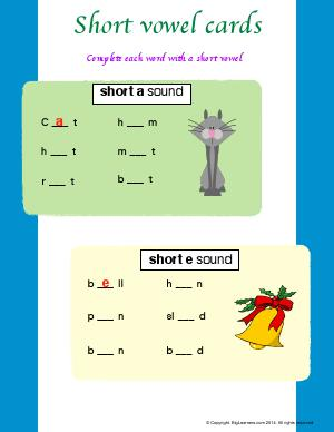 "Preview image for worksheet with title Short vowel Cards ( Short ""a"" and ""e"" Sound)"