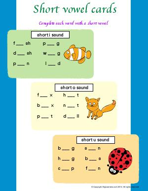 "Preview image for worksheet with title Short Vowel Cards ( Short ""i"", ""o"", and &amp"