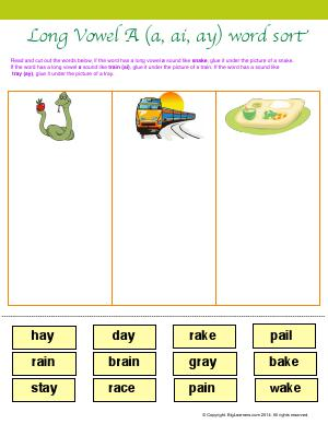 "Preview image for worksheet with title Long Vowel ""A"" (a, ai, ay) Word Sort"